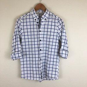 H&M Window Pane Checkered Print Button Down Shirt